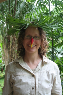 Here I am, decked out in traditional Amazonian garb, complete with banana leaf crown and bird-of-paradise-flower beak.